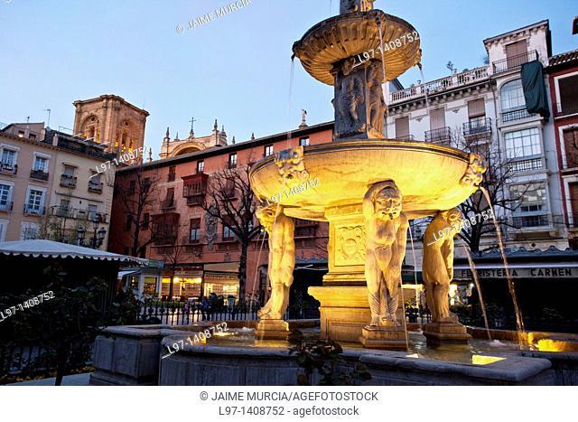 Fountain in Plaza Nueva, Granada Spain
