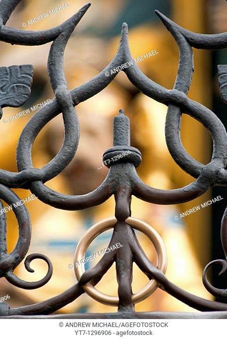 The Nuremberg Ring now welded within an iron fence is said to bring good luck to those that touch it, Germany