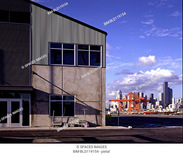 Warehouse and city skyline, Seattle, Washington, United States