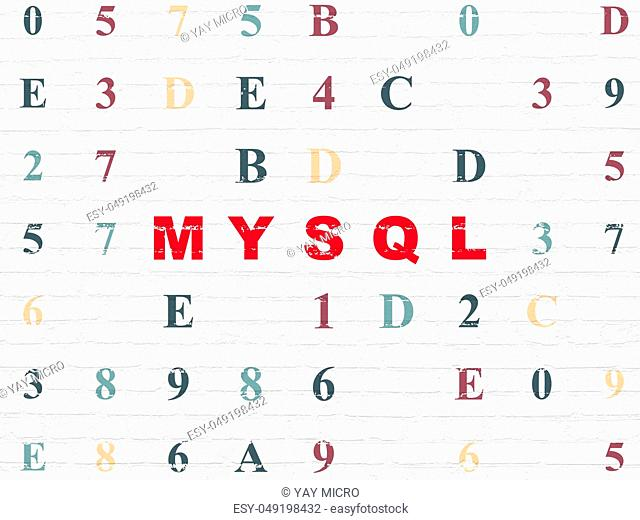 Software concept: Painted red text MySQL on White Brick wall background with Hexadecimal Code