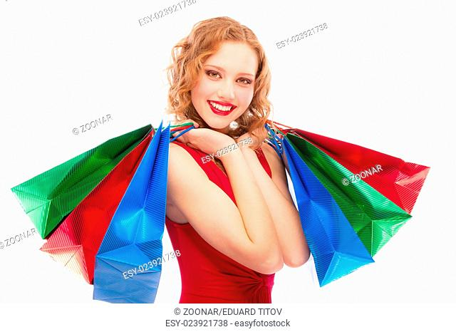 Charming girl with purchases
