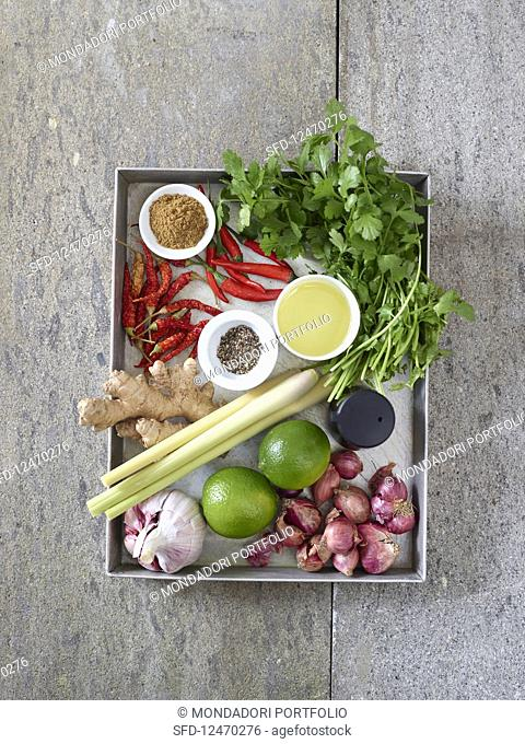 Ingredients for red curry paste