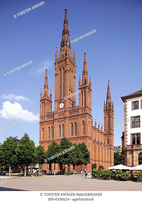 Market Church, Marktkirche and New Town Hall at Schlossplatz, Wiesbaden, Hesse, Germany