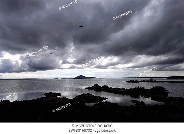 Dark clouds over islands in the lake of Myvatn, northern Iceland, Iceland, Myvatn
