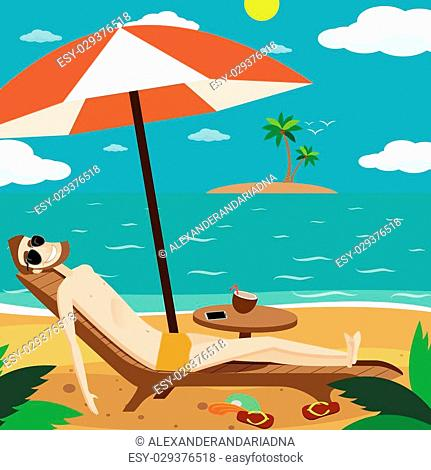 Vector illustration on color background featuring man sunbathing on the beach of the island and drinking a cocktail