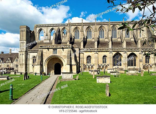 Historic Malmesbury Abbey in spring sunshine, Wiltshire, UK