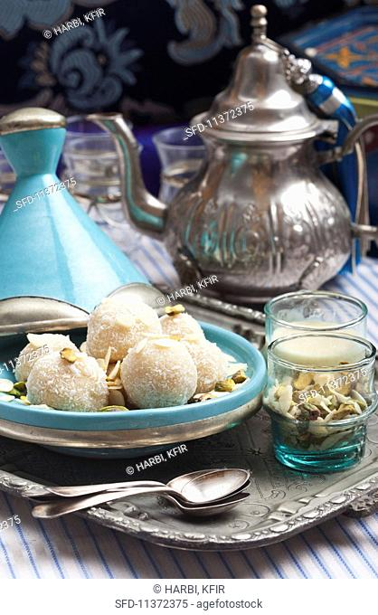 Coconut marzipan balls from North Africa