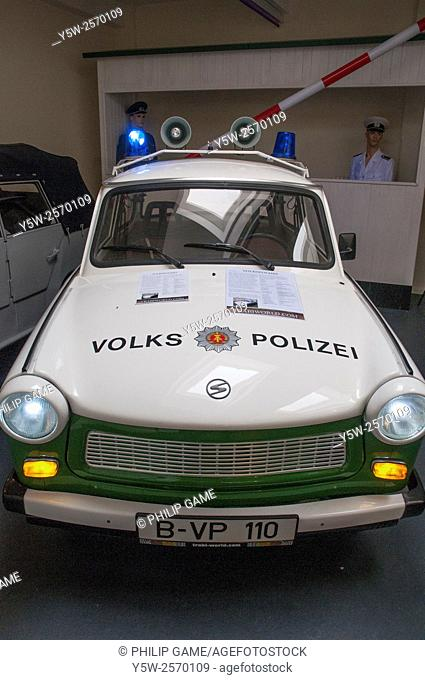 East German police pursuit car at the Trabant Museum at Checkpoint Charlie, Berlin