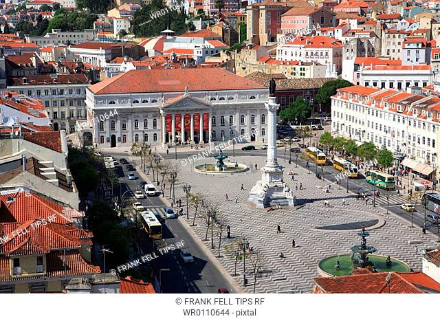 Europe, Portugal, Lisbon, Rossio Square and Dona Maria II National Theater