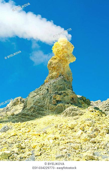 Sulfur of Ebeko Volcano, Paramushir Island, Kuril Islands, Russia