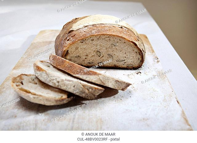 Close up of sliced loaf of bread