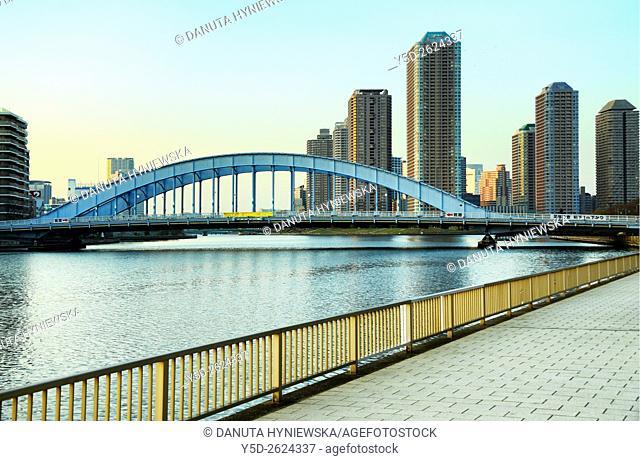 Skyscrapers near Sumida river, Eitai Bridge, Chuo, Chuo-ku, Central Ward, Chuo-ku City, Tokyo, Japan