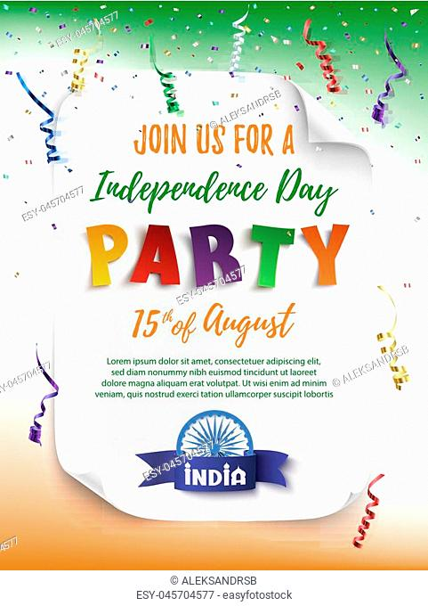 India Independence day party poster template with confetti and colorful ribbons. Vector illustration