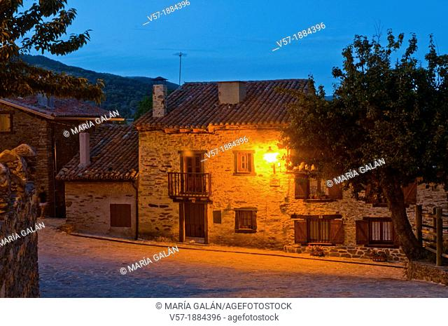 Typical house, night view. La Hiruela, Madrid province, Spain