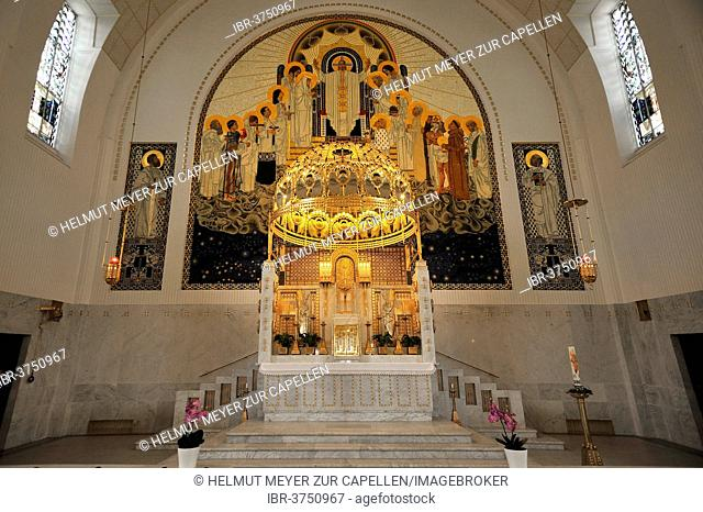 Chancel of the Church of St. Leopold at Steinhof, built 1904-1907, designed by Otto Wagner, most important building of the Viennese Art Nouveau, Vienna