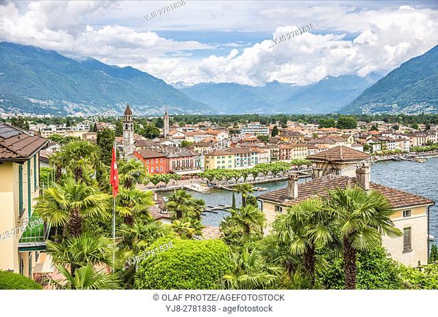 Scenic view over Ascona at Lago Maggiore, Ticino, Switzerland
