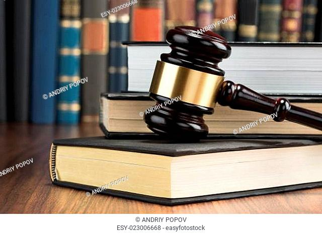 Gavel With Stack Of Books