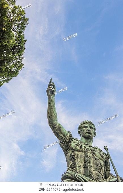 bronze statue of roman emperor augustus, trajan's forum, rome, lazio, italy