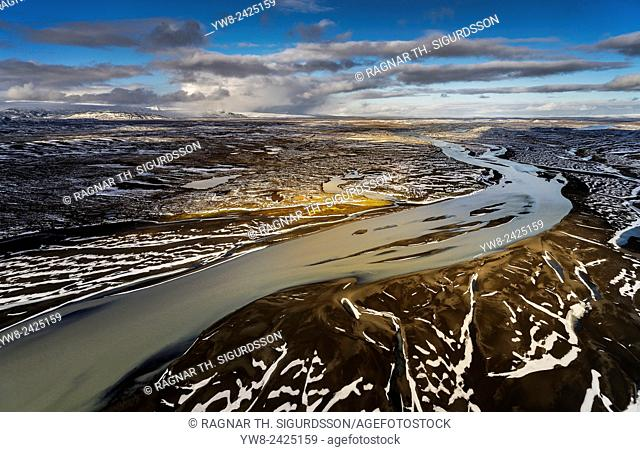 Aerial of Thjorsa river, Myrdalsjokull Ice Cap in the background, Iceland