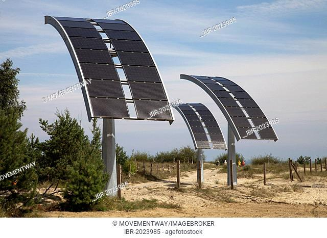 Solar system at the border crossing to Poland, seaside resort of Ahlbeck, Usedom Island, Mecklenburg-Western Pomerania, Germany, Europe, PublicGround