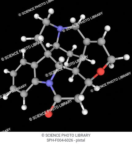 Strychnine, molecular model. Highly toxic colourless crystalline alkaloid used as a pesticide, particularly for killing rodents