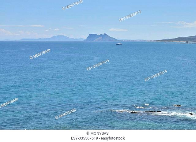 The Strait of Gibraltar is a narrow strait that connects the Atlantic Ocean to the Mediterranean Sea and separates Gibraltar and Spain in Europe from Morocco in...
