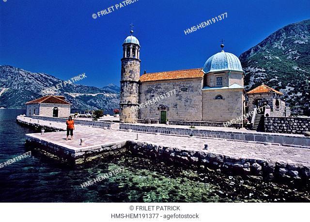 Montenegro, Adriatic coast, Kotor bay, facing Perast village, Gospa od Skrpljela Island or Skrpjel Island, church dating of 1452 and rebuilt in 1632