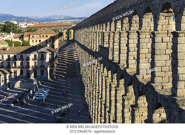 Segovia, Segovia Province, Castile and Leon, Spain. The Roman Aqueduct which dates from the 1st or 2nd century AD. The Old Town of Segovia and its Aqueduct are...