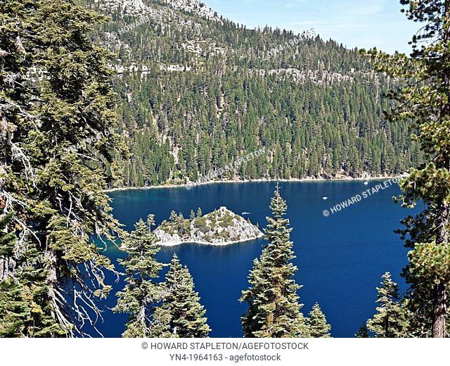 Fannette Island in Emerald Bay. Lake Tahoe, California. Fannette Island is the only island in Lake Tahoe