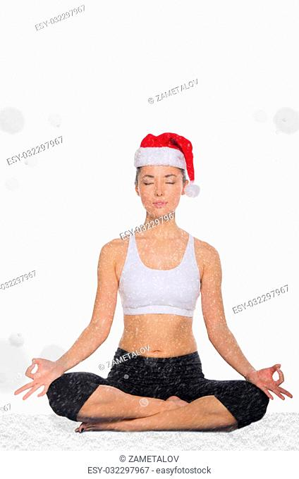 asian woman in christmas hat with snow trains fitness isolated on white