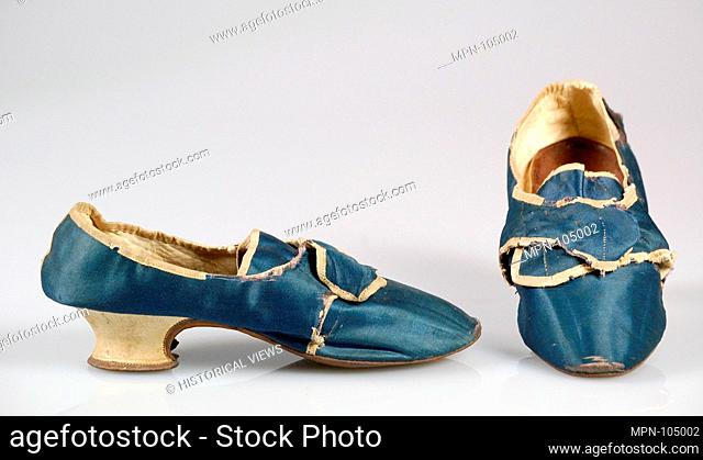 Shoes. Date: 1755-85; Culture: European; Medium: Silk, leather; Credit Line: Brooklyn Museum Costume Collection at the museum, Gift of the Brooklyn Museum