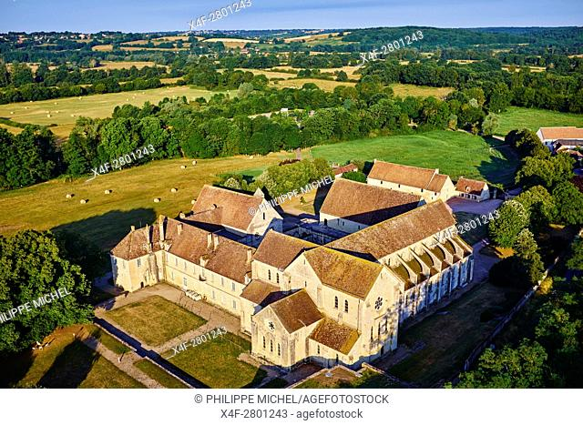 France, Cher (18), Berry, Noirlac Abbey, 12th to 14th century, Cistercian, aerial view, the Jacques Coeur road