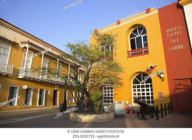 Colonial buildings used as Caribbean Maritime Museum-Museo Naval Del Caribe at the historic center, Cartagena de Indias, Bolivar, Colombia, South America