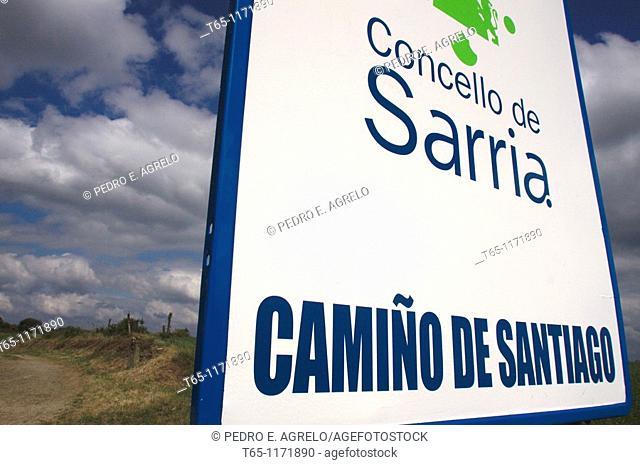 Camino de Santiago on its way through Sarria, Province of Lugo, Galicia, Spain