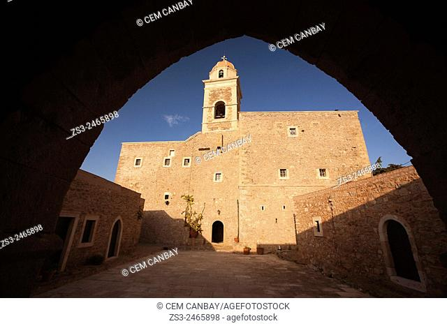 Framed view of the Moni Toplou Monastery, Akrotiri Peninsula, Crete, Greek Islands, Greece, Europe