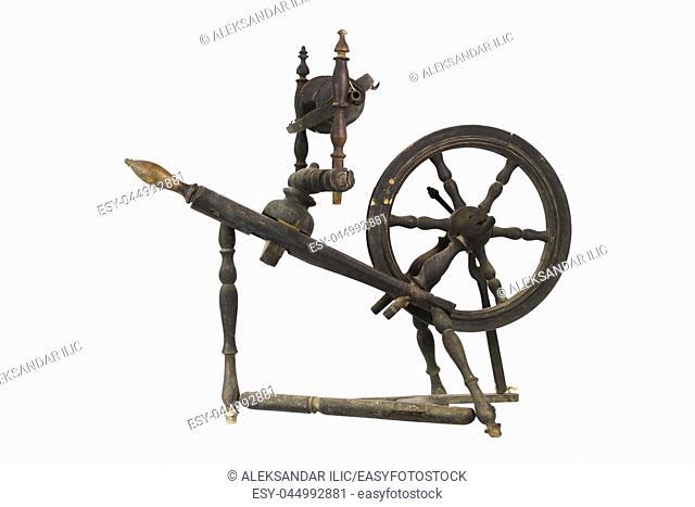 Spinning Wheel For Making Yarn From Wool Fibers. Vintage Rustic Equipment