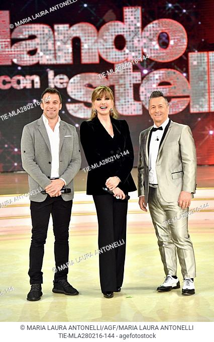 Former football player Alessandro Del Piero with Paolo Belli and Milly Carlucci during the talent show Dancing with the stars, Rome, ITALY-27/02/2016