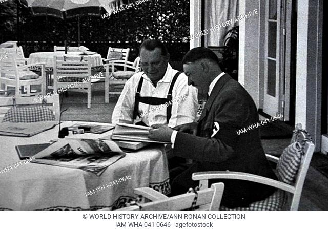 Adolf Hitler 1889-1945. German politician with Herman Goering at his mountain retreat