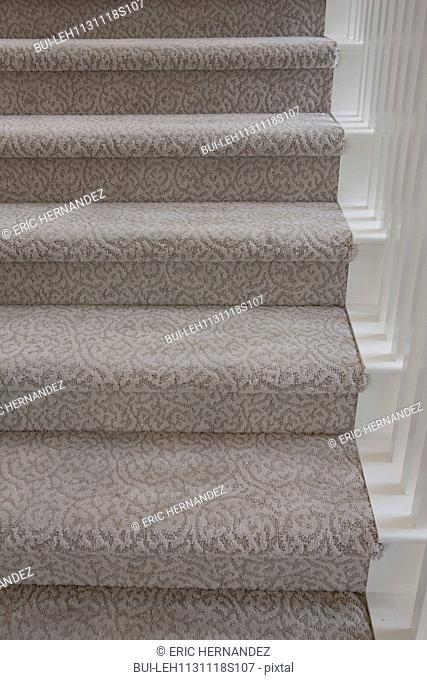 Close-up of patterned carpet on stairs at home; Irvine; California; USA