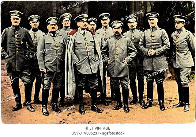 German General Alexander von Kluck (center) and his Staff, WWI, Portrait, Postcard, circa 1914