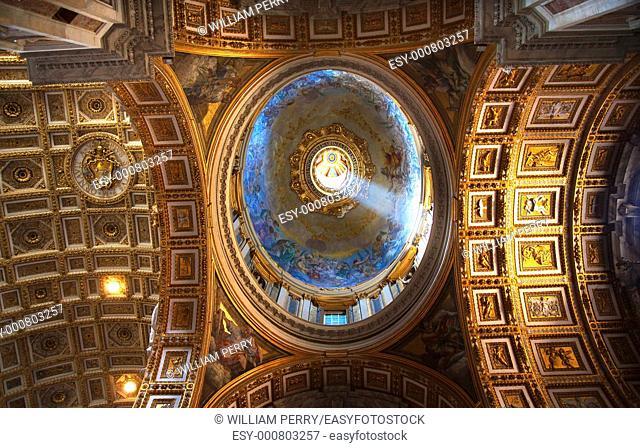 Vatican Inside Small Dome Shaft of Light Ceiling Saint Peter's Basilica Michelangelo