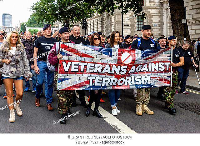 British Army Veterans March To Downing Street To Demand That The Government Does More To Combat Islamic Terrorism, Whitehall, London, UK