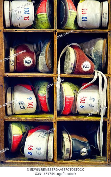 Bowling shoes on shelf for Duckpin bowling
