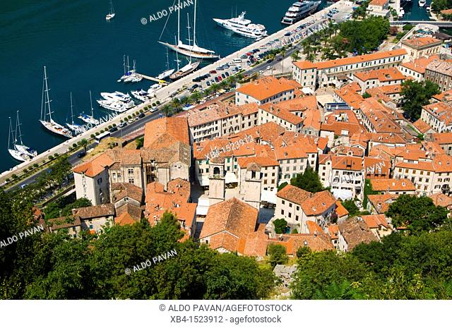 Montenegro, Kotor, view of the town from the fortress of saint John