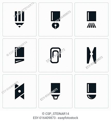 Stationery items icon collection