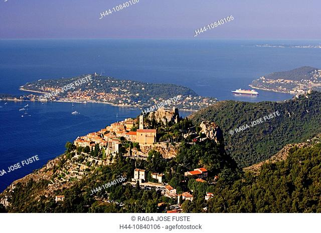 France, Europe, Eze, Cote d'Azur, French Riviera, Southern France, city, town, Cap Ferrat, July 2007, Europe, Mediterr