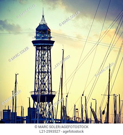Cable car tower. Port Vell, Barcelona, Catalonia, Spain