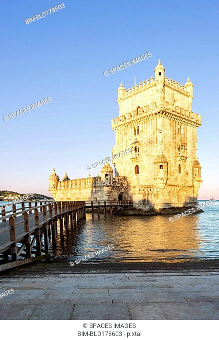 Belem Tower and pier on water, Lisbon, Lisbon, Portugal