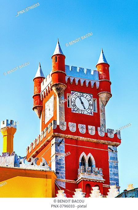 View of a tower of Pena National Palace, Sintra, Lisbon area, Portugal
