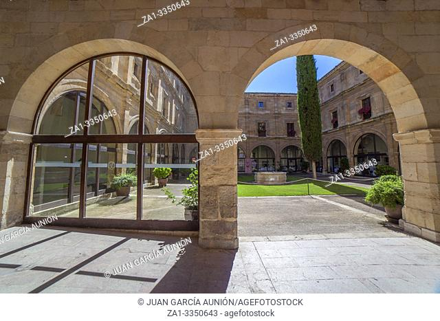 Leon, Spain - June 25th, 2019: Collegiate of San Isidoro, Leon, Spain. Entrance cloister